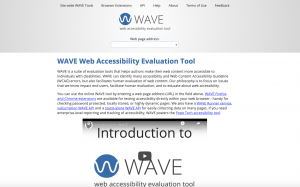 Homepage of WAVE web accessibility checker