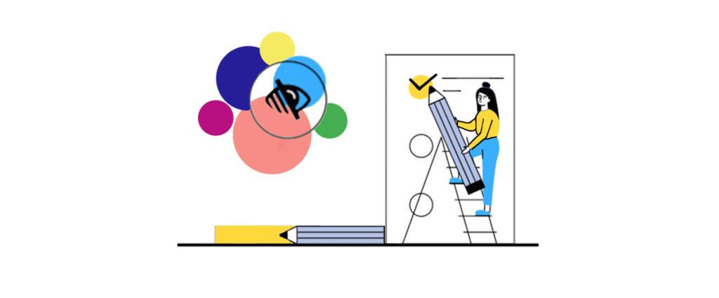 Liste di controllo per daltonismo - colori e illustrazione della lista di controllo
